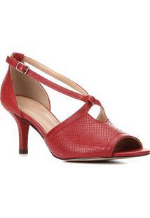 Sandália Couro Shoestock Cobra Salto Médio Feminina - Feminino-Vermelho