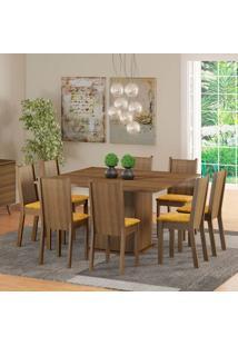 Conjunto De Mesa Com 8 Cadeiras Clarice Rustic E Palha
