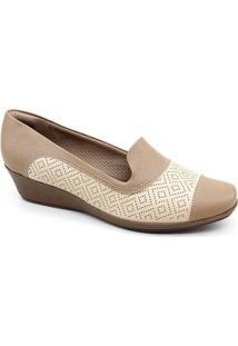 Sapato Anabela Piccadilly 144059 - Feminino-Bege