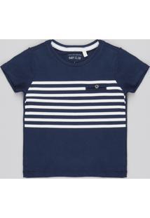 Camiseta Infantil Com Listras Manga Curta Gola Redonda Azul Marinho