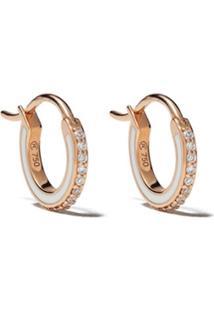 Raphaele Canot Par De Brincos Skinny Deco De Ouro Rosé 18K Com Diamante - Pink Gold