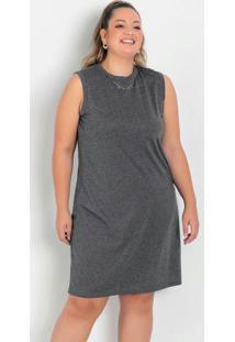 Vestido Trapézio Mescla Chumbo Plus Size