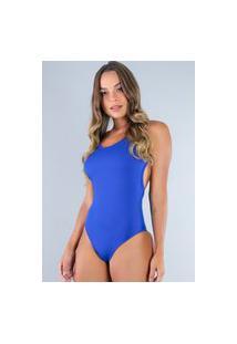 Body Alcinha Mvb Modas Cavado Feminino Costa Nua Azul