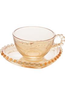 Conjunto De 4 Xícaras Café Cristal Com Pires Coração Pearl Âmbar 85Ml