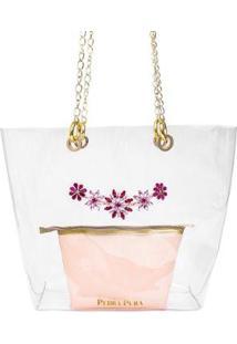 Bolsa Pedra Pura Pedraria Feminina - Feminino-Rosa+Dourado