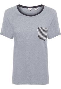 Camiseta Feminina Manga Curta Com Bolso - Cinza