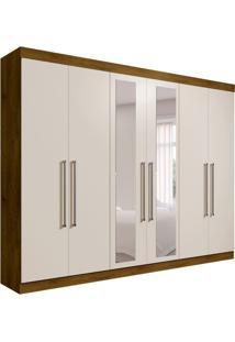 Guarda-Roupa Casal Com Espelho Giovana 6 Pt Canela E Off White