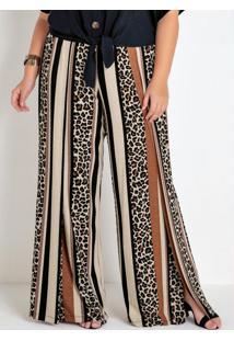 Calça Plus Size Pantalona Onça E Listras