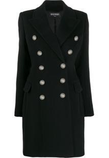 Balmain Embossed Buttons Coat - Preto