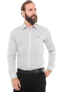 Camisa Mr Kitsch Reta Listrada Cinza/Off-White