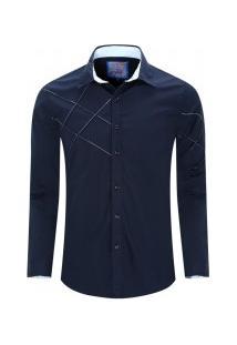 Camisa Masculina Assimétrico Manga Longa - Azul Royal