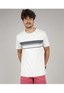 Camiseta Masculina Com Listras Manga Curta Gola Careca Cinza Mescla Claro