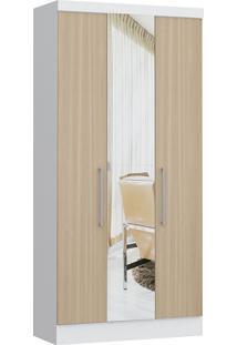 Modulo Com 3 Portas E 2 Gavetas C/ Espelho Infinity 3830A-Castro Móveis - Branco / Nogueira