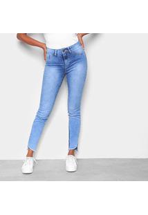 Calça Jeans Skinny Barra Assimétrica Desfiada Rasgos Feminina - Feminino