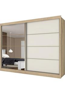 Guarda Roupa Sevilha 2 Portas Com Espelho Amêndoa / Off White