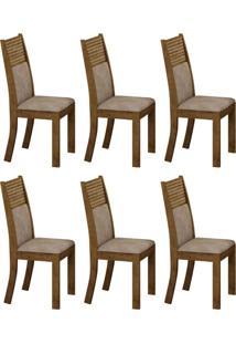 Conjunto Com 6 Cadeiras Havaí Ipê E Cinza