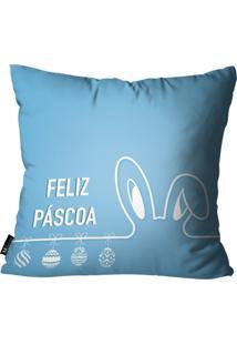 Capa Para Almofadas Mdecore De Páscoa Azul 35X35