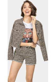 Jaqueta Cropped Jeans Estampa Jaguar - Lez A Lez