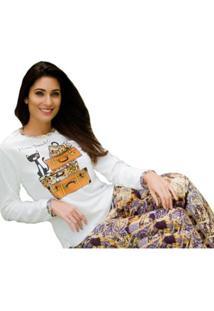 Pijama Victory Inverno Frio Longo Plush Feminino - Feminino-Bege