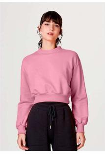 Blusão Moletom Feminino Cropped Em Algodão Rosa