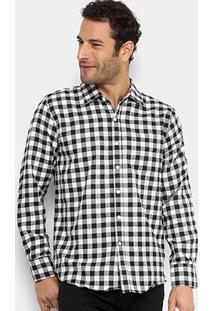 Camisa Xadrez Broken Rules Vichy Flanelada Masculina - Masculino-Preto