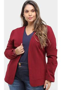Blazer Kedio Sem Gola Plus Size Feminino - Feminino-Vinho