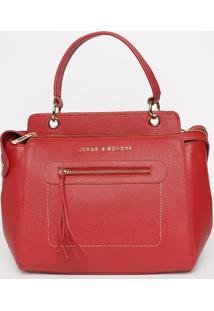 Bolsa Em Couro Com Recortes - Vermelha- 25X33X16Cmjorge Bischoff