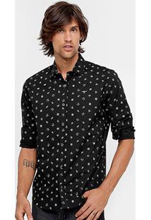 Camisa Colcci Estampada Manga Longa Masculina - Masculino