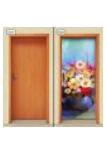 Adesivo Decorativo De Porta - Pintura - Flores - 1013Cnpt
