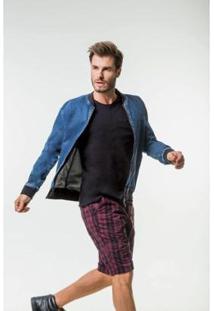 Jaqueta Docthos Jeans Masculina - Masculino-Azul+Preto