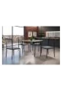 Conjunto De Mesa De Jantar Grécia Com Tampo De Vidro Siena E 4 Cadeiras Atos Linho Cinza E Preto