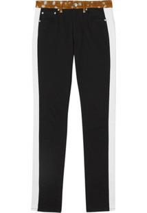 Burberry Calça Jeans Reta Com Estampa - Preto