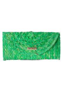 Carteira Clutch Palha Natural Artesanal Imã Casual Prático Verde Verde