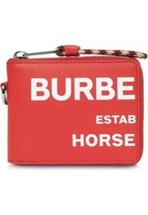 Burberry Carteira De Couro Com Zíper E Estampa Horseferry - Vermelho
