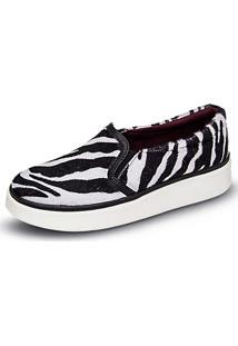 Sapatilha Mr Light Iate Zebra Couro Preta/Branca