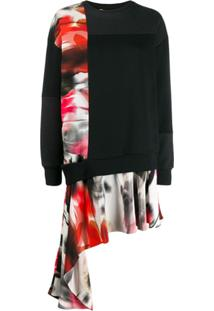 Alexander Mcqueen Asymmetric Sweatshirt Dress - Preto