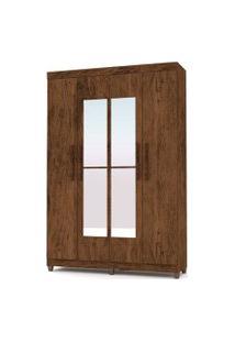Guarda Roupa Casal Palmas 4 Portas E Espelho Imbuia/Rústico - Vlr Móveis