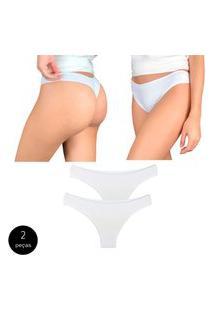 Kit Com 2 Calcinhas Fio Dental Try Basics Confortável Cotton Algodão Top Qualidade Costura Reforçada Premium Branco