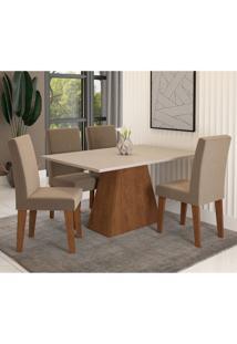 Conjunto De Mesa De Jantar Com 4 Cadeiras Estofadas Bianca Suede Off White E Joli