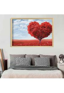 Quadro Love Decor Com Moldura Heart Tree Madeira Clara Grande
