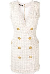 f9faa7a12 R$ 17556,00. Farfetch Balmain Vestido De Tweed Com Abotoamento Duplo -  Neutro