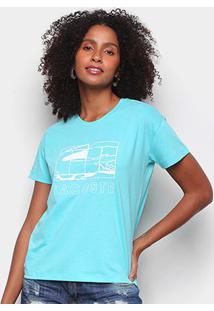 Camiseta Lacoste Jacaré Feminina - Feminino-Azul Claro