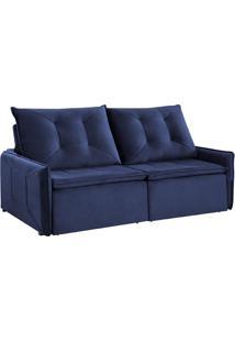 Sofá 3 Lugares Retrátil E Reclinável Slide Com Entrada Usb Veludo Azul 200 Cm