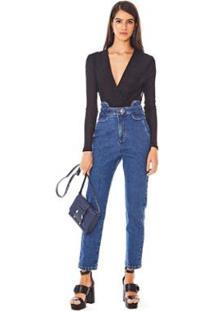 Calça Morena Rosa Mom Cós Alto Bolso Embutido Jeans Feminina - Feminino