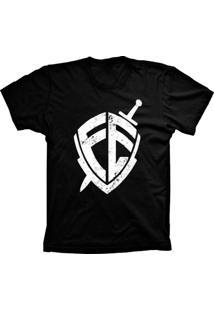 Camiseta Lu Geek Manga Curta Escudo Da Fé Preto