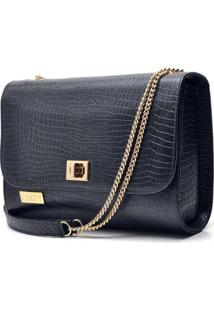 Bolsa Hendy Bag Menor Estruturada Couro - Feminino-Preto