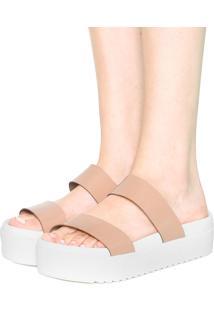 Tamanco Flatform Dafiti Shoes Verniz Bege