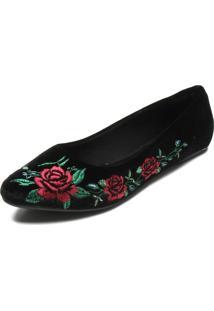 Sapatilha Dafiti Shoes Bordado Preta
