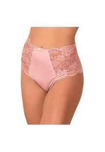Calcinha Cintura Alta Vip Lingerie Hotpant Rosa