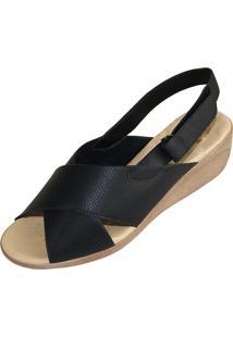 Sandália Malu Super Comfort Tiras Preta